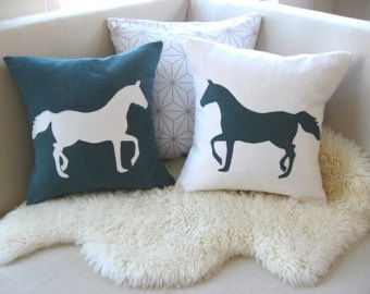 Horse Pillow Cover, Rustic Modern Appliqué Silhouette, Dark Teal Emerald Green & Warm White-Equestrian Decorative Pillows-18x18 Jewel Tones