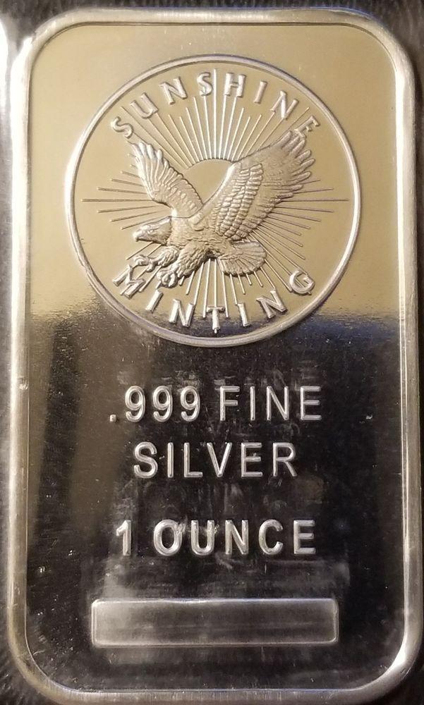 Sunshine Minting 1 Oz 999 Fine Silver Bullion Bar Sealed Fine Silver Silver Bars Silver Bullion