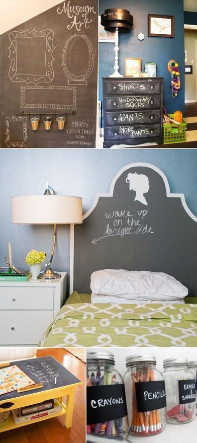 Diy chalk paint furniture walls jars diy chalkboard for Bedroom chalkboard paint ideas