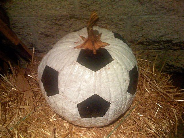 a Pumpkin that looks like a Soccer Ball! I don't even like soccer, but this is really cool!