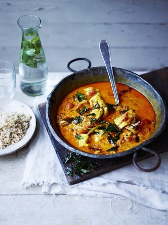 Sri Lankan-style monkfish curry | Jamie Oliver. Redo this by making the sauce separately from the fish. Use pan roasted halibut fillets and serve on top of the sauce.