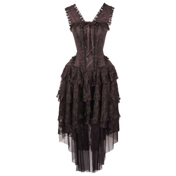 VG London Victoriaanse lange gedrapeerde korset jurk met kant en lint