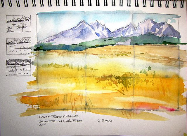 Watercolor Sketch - Grand Teton Range by Steve Penberthy, via Flickr