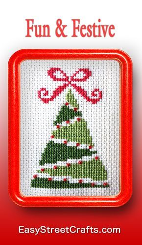 """Cross-Stitch Christmas Tree is fun and easy for beginners to stitch. Framed in 5""""x7"""" Red Hoop-Frame from EasyStreetCrafts.com"""
