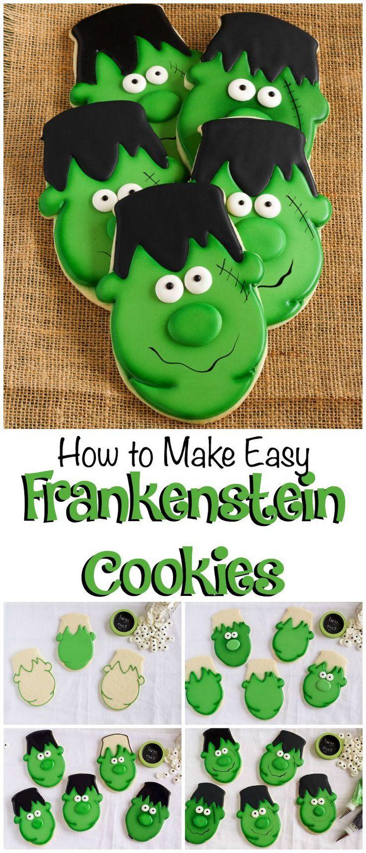 How to Make Easy Frankenstein Cookies via http://www.thebearfootbaker.com