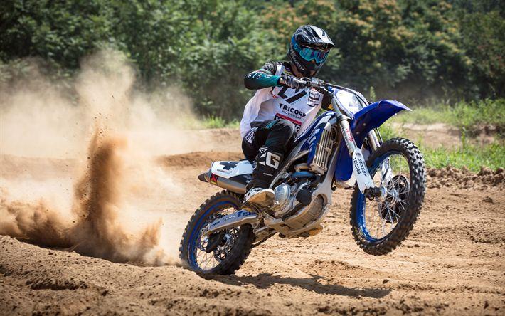 Herunterladen hintergrundbild yamaha yz450f motocross, bikes, 2018, rennen, fahrer, yamaha