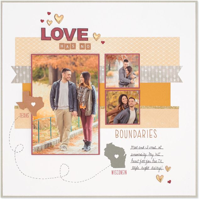 Love Has No Boundaries: Cute mini states & provinces stamps from Close To My Heart. Single page scrapbook layout