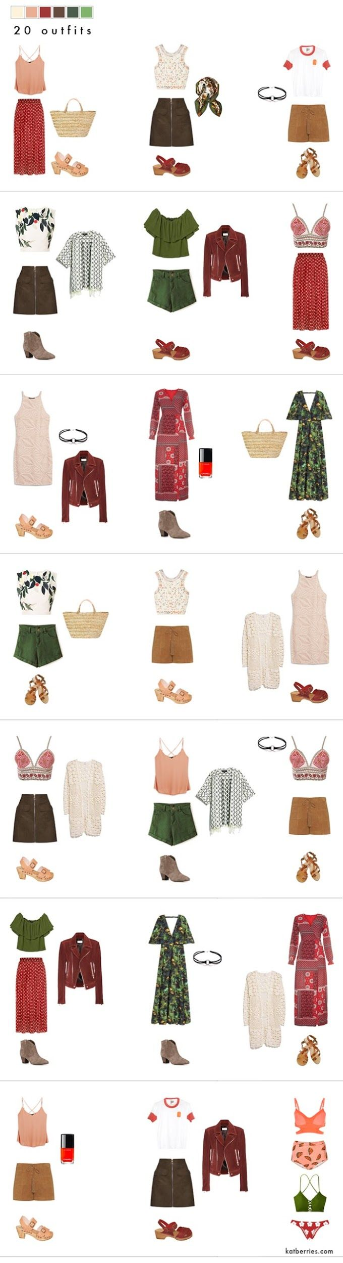 20 pieces, 20 outfits. Small wardrobe doesn't have to be neutral. Go colour crazy! (but with a little bit of planning beforehand) COLOURFUL 20 PIECE BOHEMIAN SUMMER WARDROBE ( 20 OUTFITS!) Colorful capsule wardrobe