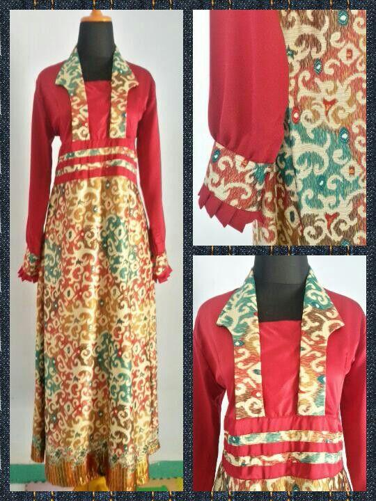 gamis kombinasi batik+satin velvet