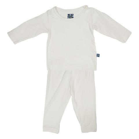 KicKee Pants Basic Long Sleeve Pajama Set (Natural)