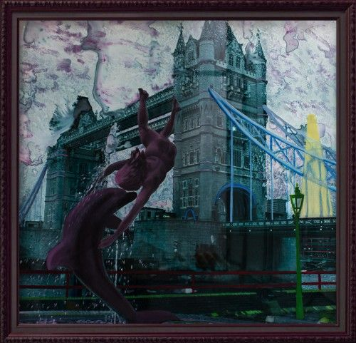 """""""The girl and the dolphin"""", in a greyish-pink rain or how a photo can become more significant through painting.    Film backlit, oil and acrylic .    The painting was done in 2012 and it represents the Tower Bridges in London."""