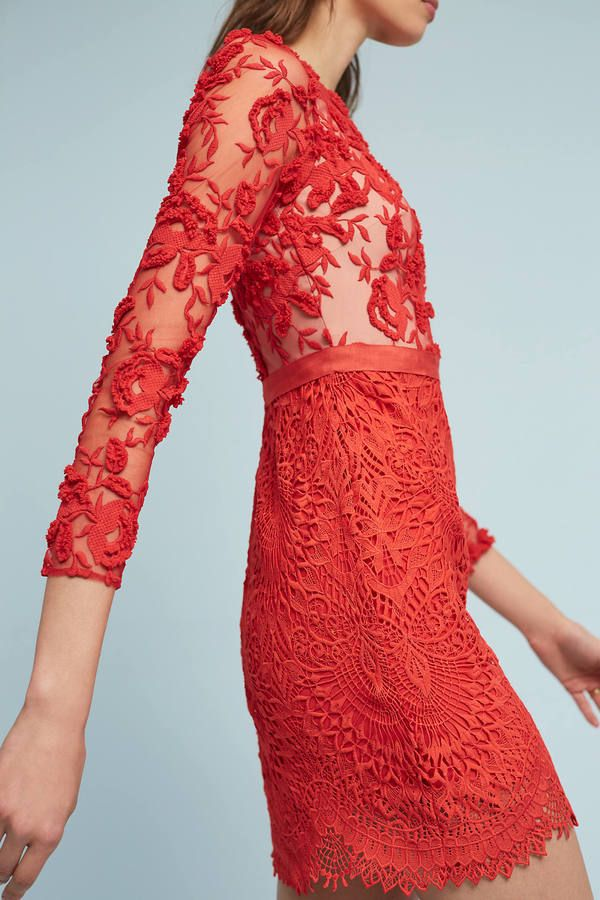 ML Monique Lhuillier Serena Embroidered Dress