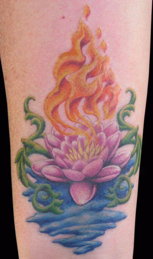 Lotus flower and fire tattoo...I want to know the story behind the image...