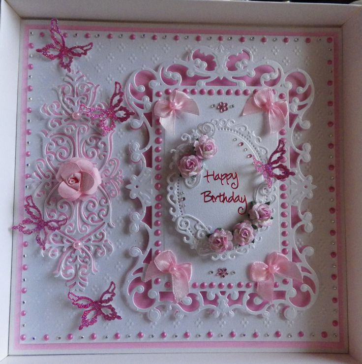 spellbinders and tattered lace roses birthday card