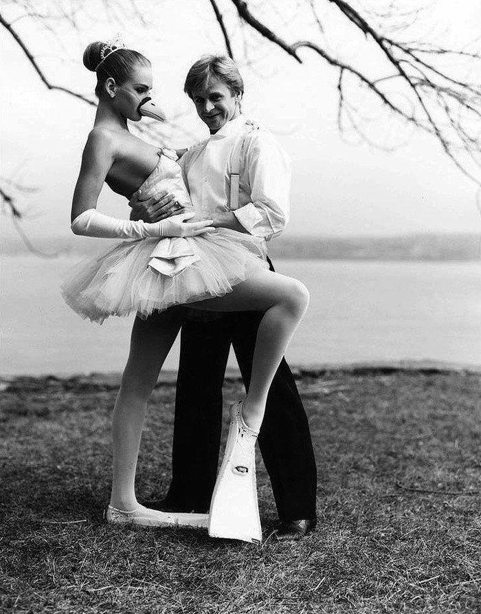 Михаил Барышников и 17-летняя Ума Турман на фото Артура Элгорта. 1987 г.
