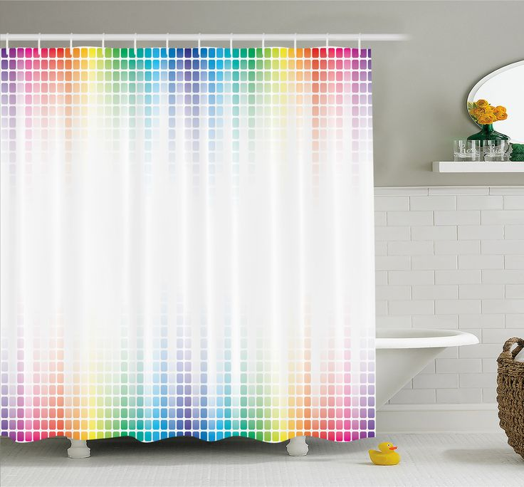 Digital Art Musical Volume Tone Abstract Picture Little Square Mosaic Tiles Shower Curtain Set