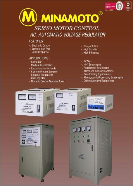 Servo Motor Control AC Automatic Voltage Regulator. FEATURES : • Electronic control • Servo motor type • Quick Response • Compact size • High stability APPLICATIONS : • Computer • Medical equipments • Laboratory instruments • Communication systems • Lighting equipments • Cash register • Numeric control machine tools • TV sets • Hi-fi equipments • Refrigerator equipments • Alarm and security systems • Broadcasting equipments • Photographic Processing Equipments • Others sensitive equipments