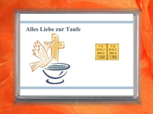 """2g Gold zur Taufe mit Glückwunsch """"Alles Liebe zur Taufe"""" mit Taube und Taufbecken"""