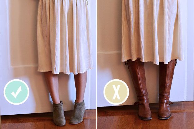 ankle booties vs. knee-high bootsMidi Skirts: Midi skirts are already difficult to style and can often make you look shorter, so pairing them with ankle boots is a much better option. That way you can see the thinnest part of your legs and keep them looking long and lean.