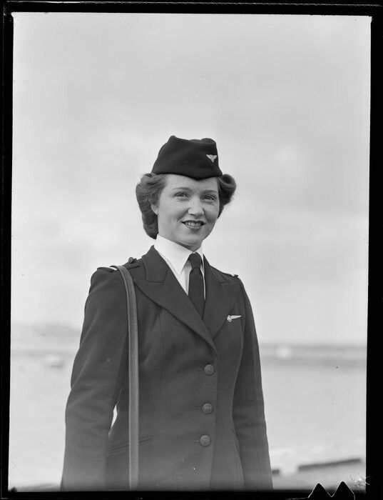 Miss L A O'Conner, stewardess, TEAL Tasman Empire Airways Ltd. Date: Oct 1947. Photograph taken by Whites Aviation