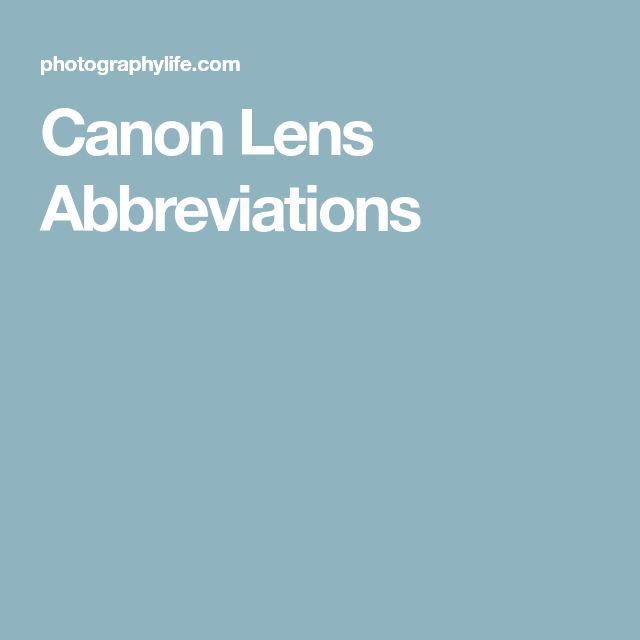 Canon Lens Abbreviations