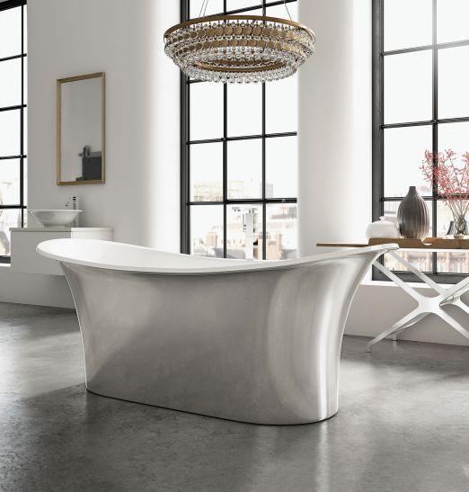 AEGEAN, wanna o klasycznym kształcie, wykończenie w srebrnym kolorze, ASHTON & BENTLEY. #lazienka #toaleta #inspiracje #wnetrza #dom #kran #słuchawka #łazienki #kabina #wanna #mieszkanie #willa #projektowanie #architektura #design #interior #bath #shower #bathroom #inspiration #ideas #white #modern #2018 #glamour #style