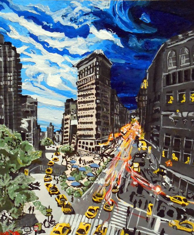 "Night and Day. 2012. Acrylic on thick paper. 9"" x 7.5"".   New York, skyline, Night, Day, streets, taxis, painting, art, Kelsey Rempel: Artist at Play"