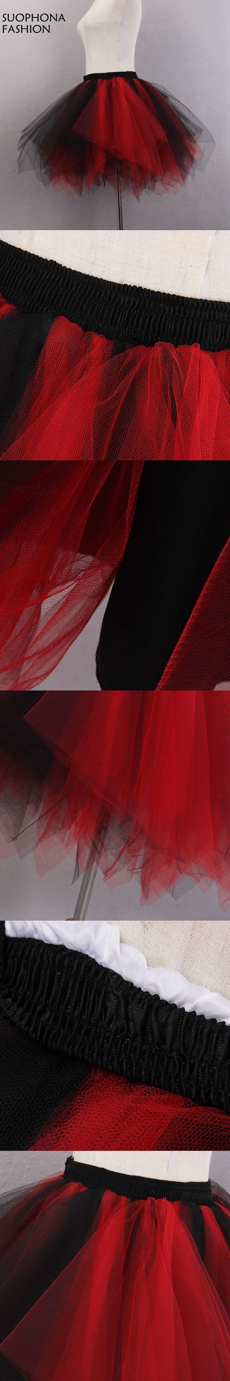 New Arrival In stock Red Black Short Mini Petticoat Crinoline Saiote onderrok Enaguas Jupon mariage Petticoat halloween