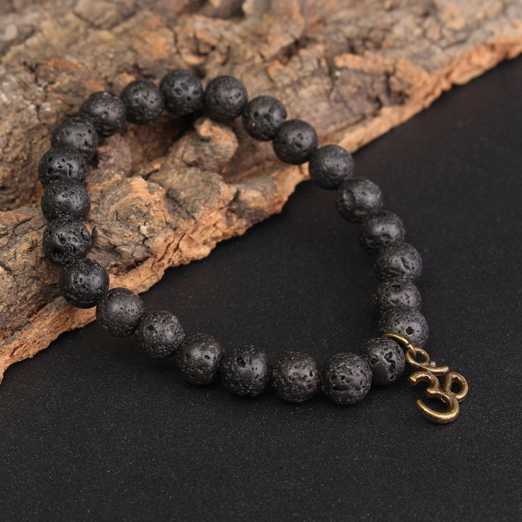 8mm Lava Stone Buddha Lucky Beads Elastic Bracelet Bangle Chain