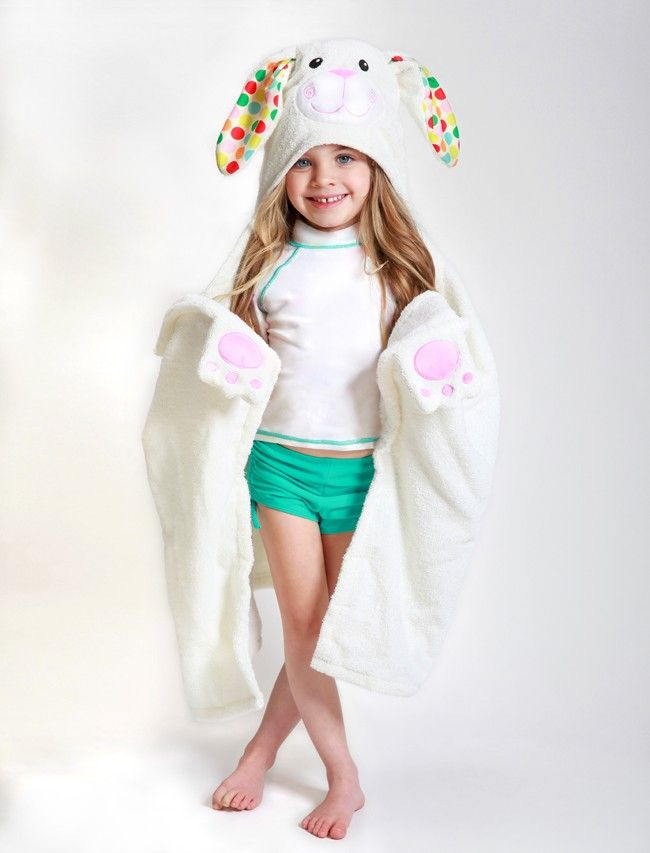 Bella the Bunny loves nothing more than a good after bath snuggle, or is it an after swim snuggle? Luckily she's available for both! Her fun spotted ears, embroidered and appliquéd details and gently stuffed velour muzzle, hand grabs and tail complete her look. $26.00 #Summer #Beach #Pool #Bath #Gift #KidsHoodedTowel #HoodedTowel