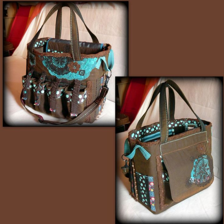 Handmade by Judy Majoros -Brown-turquoise polka dots chrochet scrapbooking tote-bag. Recycled bag. Materials:chrochet-cordura-rubber strap-velcro-canvas...