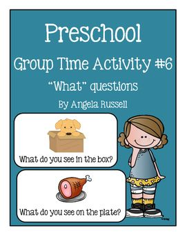 """This unit provides you with 30 """"What"""" questions. Copy, cut, and laminate the cards and then during group time have the children answer the questions by looking at the picture.Some examples:What is the girl doing?What is in the box?What color is the bird?What is the name of this fruit?"""
