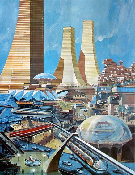 Das Neue Universum 85, 1968Himmelstürmende Wolkenkratzer geben den zukünftigen Großstädten einen Zug ins Gigantische. Hundert Stockwerke hohe Wohntürme, im lockeren Kreis geordnet, turmartig geschachtelte Treppenwohnungen, Pyramidenwohnblocks und wabenförmig aufgehängte Wohnzellen aus Kunststoff, die einigen zehn- oder gar hunderttausend Menschen Obdach bieten, zeichnen eine last beklemmende Kulisse. Diese riesigen Wohnmaschinen sind in Ebenen gestaffelt, die verschiedene