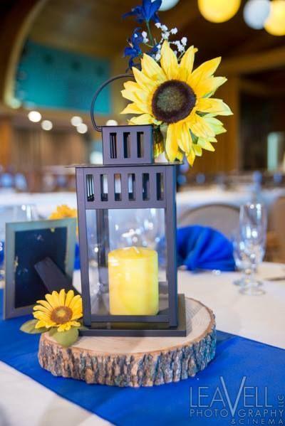 lantern and sunflower wedding centerpieces