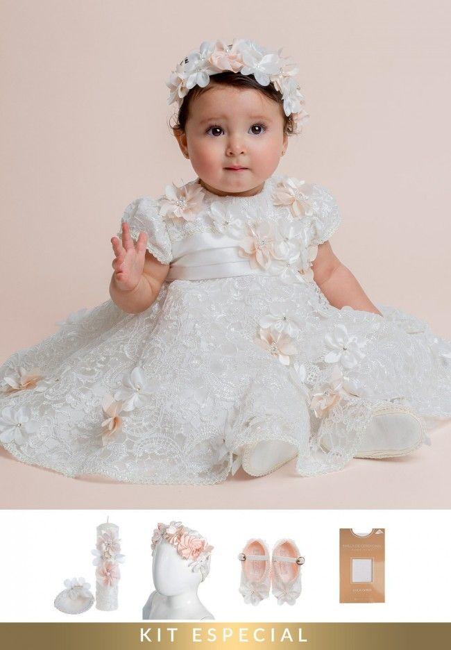 Vestido De Bautizo Para Niña Perla Incluye Set De Bautizo