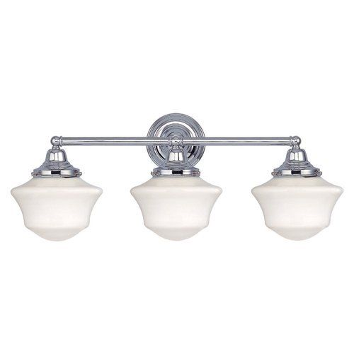Three-Light Schoolhouse Bathroom Light in Chrome Finish by Design Classics. $79.95. Chrome finish with Ballard schoolhouse style white glass. Takes three 60-watt medium base bulbs (not included). Offering unique collections from a consortium of designers, Design Classics features more than 1,300 elegantly styled yet affordable priced items; many of which are exclusive, signature designs. As a direct importer, the company provides the most competitive pricing without compromising...