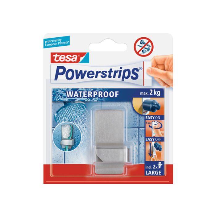 tesa Powerstrips® Waterproof Háčky, voděodolný, na zubní kartáček, nerez ocel, nosnost 2kg, 1ks Voděodolné háčky tesa Powerstrips® odstranitelné - tesa-shop.cz