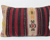 kilim pillow turkish 16x24 red decorative pillow black throw pillow large throw pillow seat cushion floor cushion cover lumbar pillows 23175