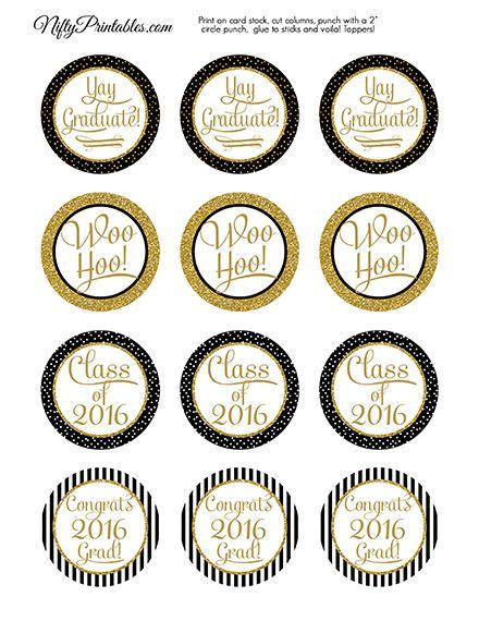 Graduation Cupcake Toppers - Black Gold Elegant 2019 ...