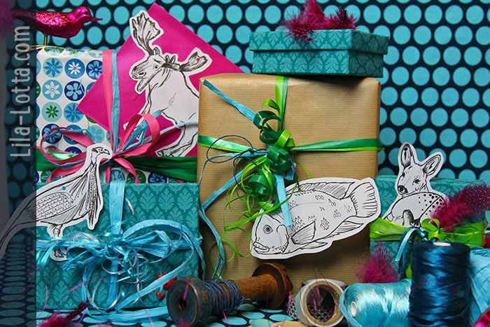 schmückt eure Geschenke mit gezeichneten Tierchen