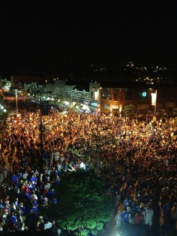 Downtown Lawrence, KS, 3/31/12 after KU beat Ohio State to advance to the National Championship game.  The pictures seem like it was way crazier than it felt being there. What a wonderful memory :)