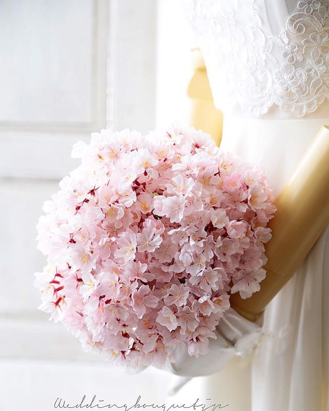 Really Unusual And Very Feminine Pink Cherry Blossoms Bridal Bouquet Cherry Blossom Wedding Bouquet Cherry Blossom Wedding Cherry Blossom Wedding Decor