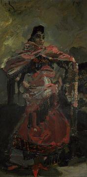 Врубель Михаил Александрович. Испанка в красном. Начало 1890-х Картон, масло 32,9 х 19,3