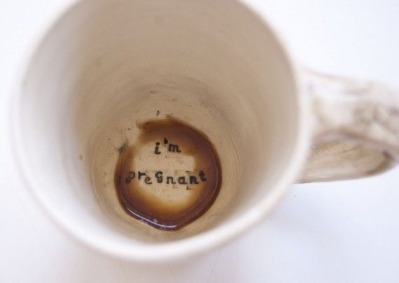 such a cute way to do a pregnancy reveal! Wouldnt that be a crazy cup of coffee honey?! lol