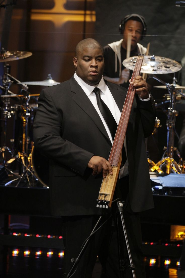 "Laser focus. Current GRAMMY nominee Salaam Remi keeps his eye on the prize during a performance on ""The Tonight Show With Jay Leno"" on Jan. 7 in Burbank, Calif."