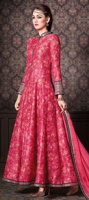 Single Print Silk Salwar Kameez with Mirror Work by IWS 465316 Pink and Majenta  color family Party Wear Salwar Kameez in Silk fabric with Mirror, Printed work .