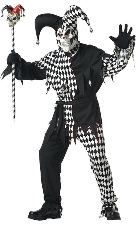 evil jester with mask adult costume halloween costume - Masquerade Costumes Halloween