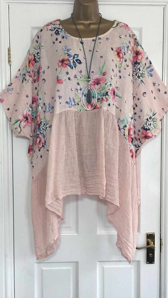"""ITALIAN LAGENLOOK TUNIC TOP. OVERSIZED LOOSE STYLE IN FLORAL PRINT. LENGTH FROM SHOULDER APPROX 32"""" FRONT 39"""" SIDE. LOOK GREAT WITH LINEN TROUSERS. IN PINK. 