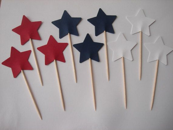Stars in Red Blue White Birthday Wedding Baby Shower by MoonChi, $4.50