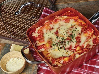 Lasagna in the Copper Chef pan!  Recipes | Copper Chef™ #Recipes #Lasagna #CopperChef